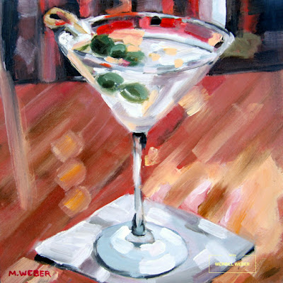 Martini with Three Olives cocktail oil painting by artist Merrill Weber