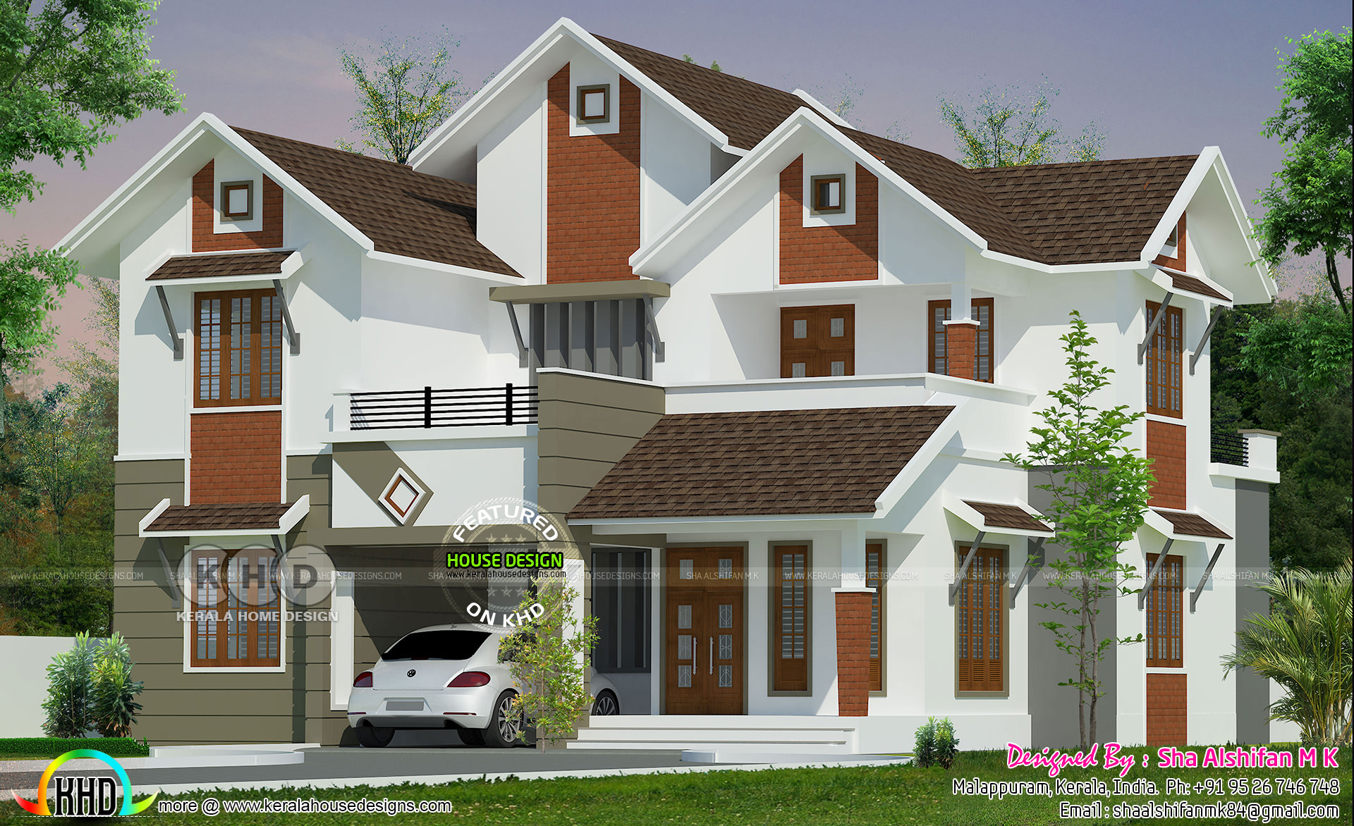 . 5 Bedrooms 2195 Sq feet Mixed Modern Sloped House   Kerala home