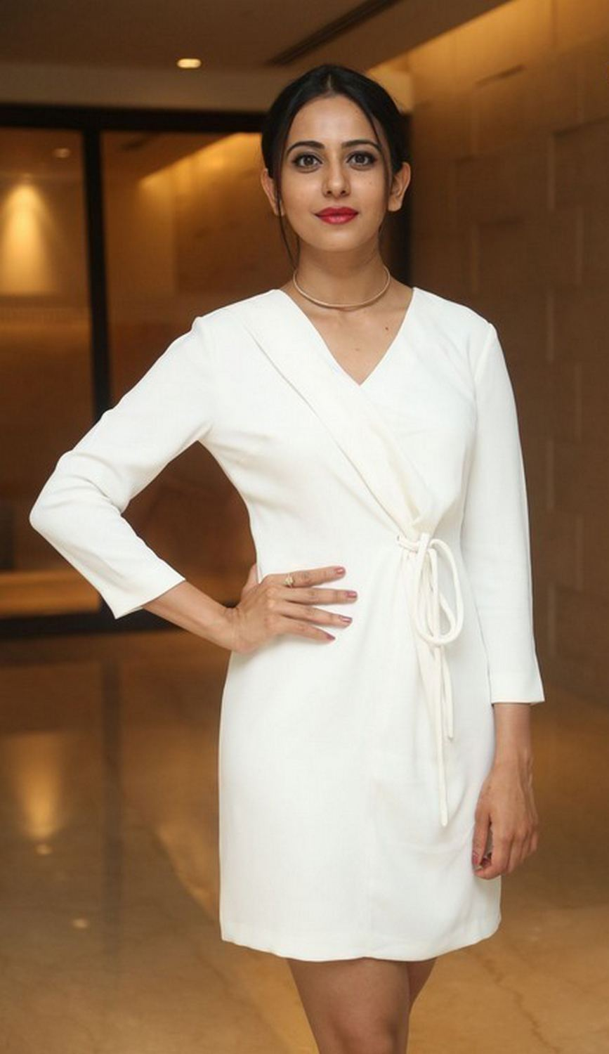 Tollywood Actress Rakul Preet Singh Photos In White Dress At Teach For Change Event