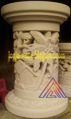kaki meja batu alam motif rumah