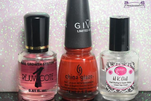 Duri Rejuvacote, China Glaze Seeing Red, Glisten & Glow HK Girl Fast Drying Top Coat