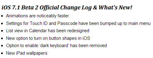 iOS 7.1 Beta 2 Changelog