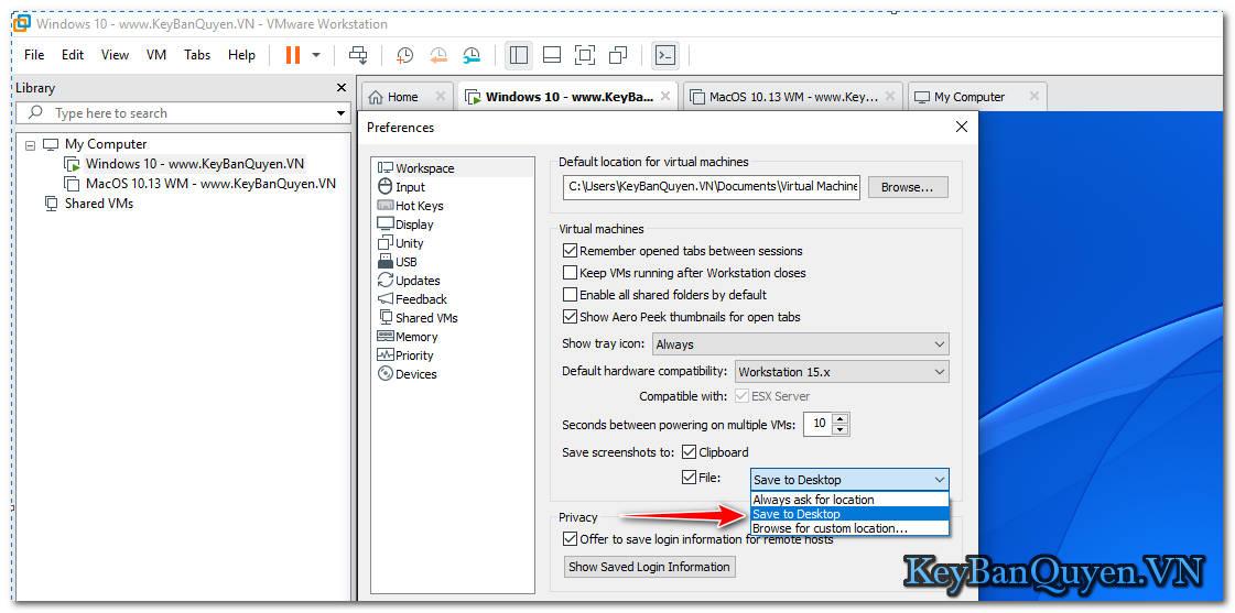 Hướng dẫn chụp ảnh màn hình trên máy ảo VMware Workstation Pro .