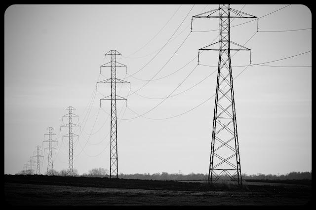 Czarno-biała fotografia krajobrazu. Słupy. fot. Łukasz Cyrus