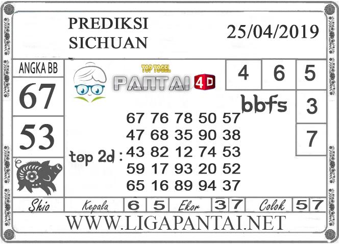 """Prediksi Togel """"SICHUAN"""" PANTAI4D 25 APRIL 2019"""