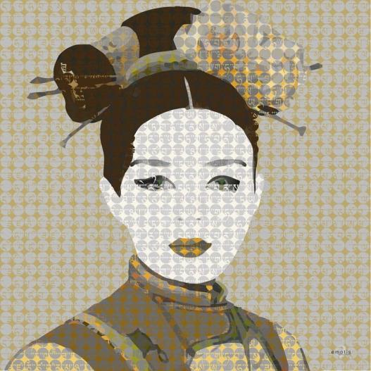 Représentation du motif sur l'étole Geisha - Emotis - Blog beauté Les Mousquetettes ©
