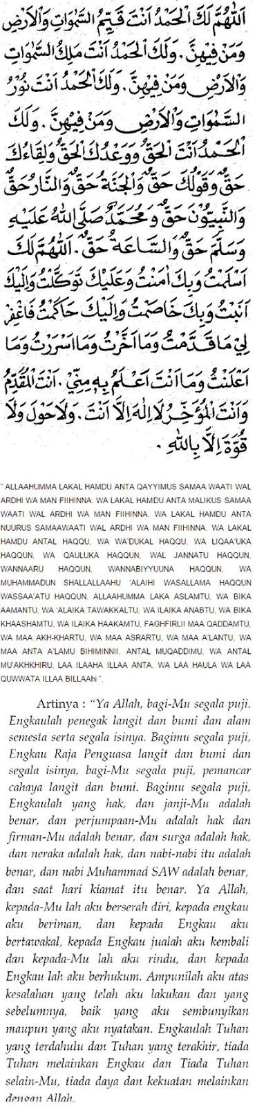 Bacaan Doa Sholat Tahajud Yang Benar lengkap Sesuai Sunnah Arab Latin Dan Terjemahannya