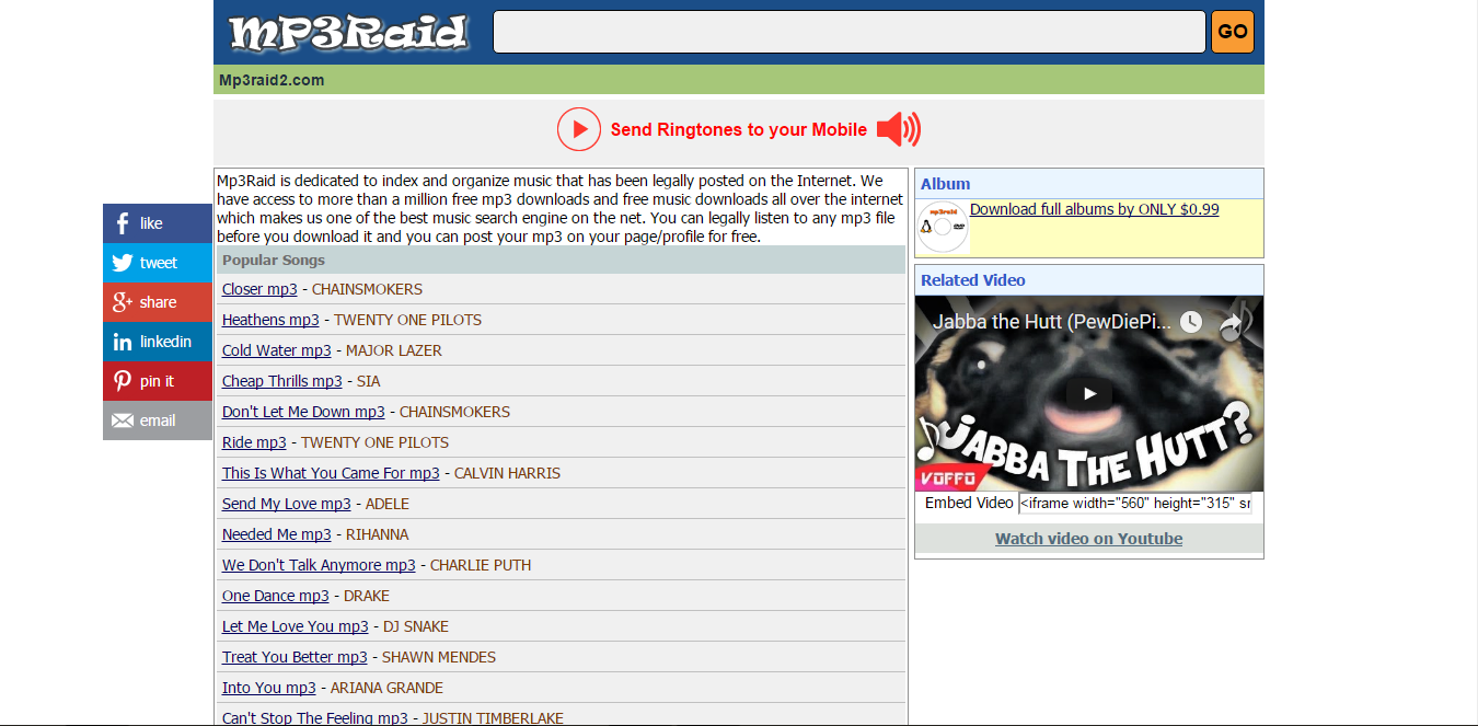 mp3 raid2 is the one of the amazing music search engine in the internet mp3raid2 is another free music download site