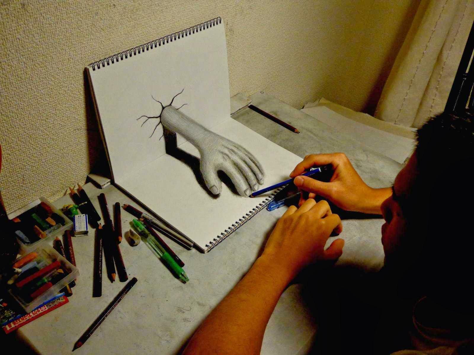 3D crteži olovkom–Optička iluzija