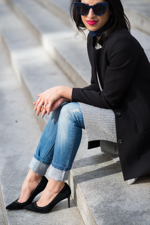Gap sweater, spring style, new haircut, skinny denim, Coach Smith heels, Coach heels, Lancome matte lipstick, black structured blazer
