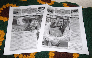 Black-and-white printouts of two recent issues of La Voz magazine