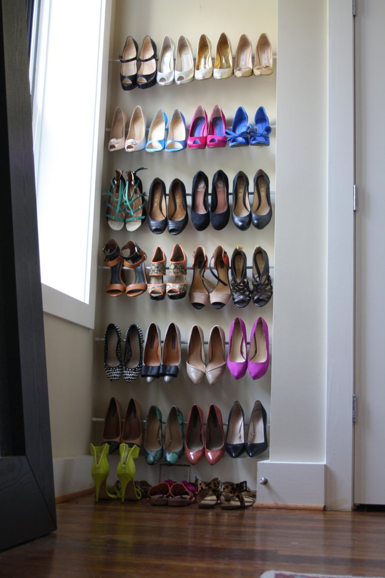 10 brilliant ways to use tension rods - make an easy shoe rack