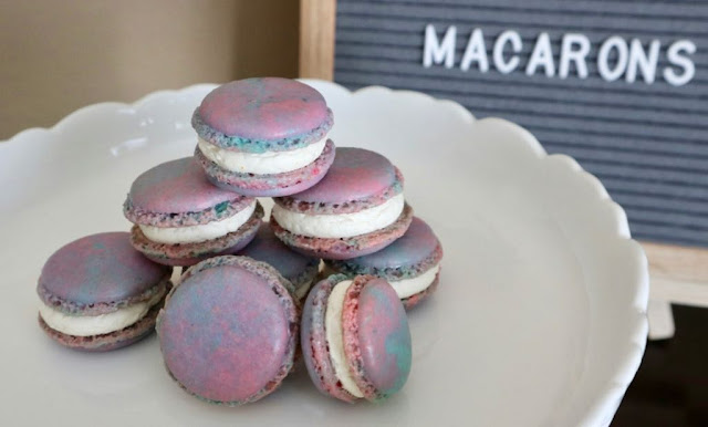 aloha macarons on a white stand