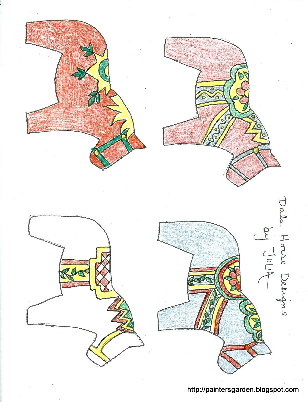 Paintersgarden Dala Horse Design Worksheets