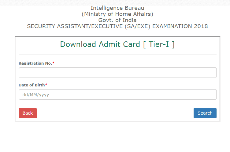 MHA IB Security Assistant Admit Card 2018