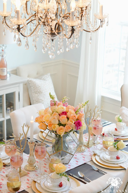 Pretty spring tablescape with gold, pink and peach