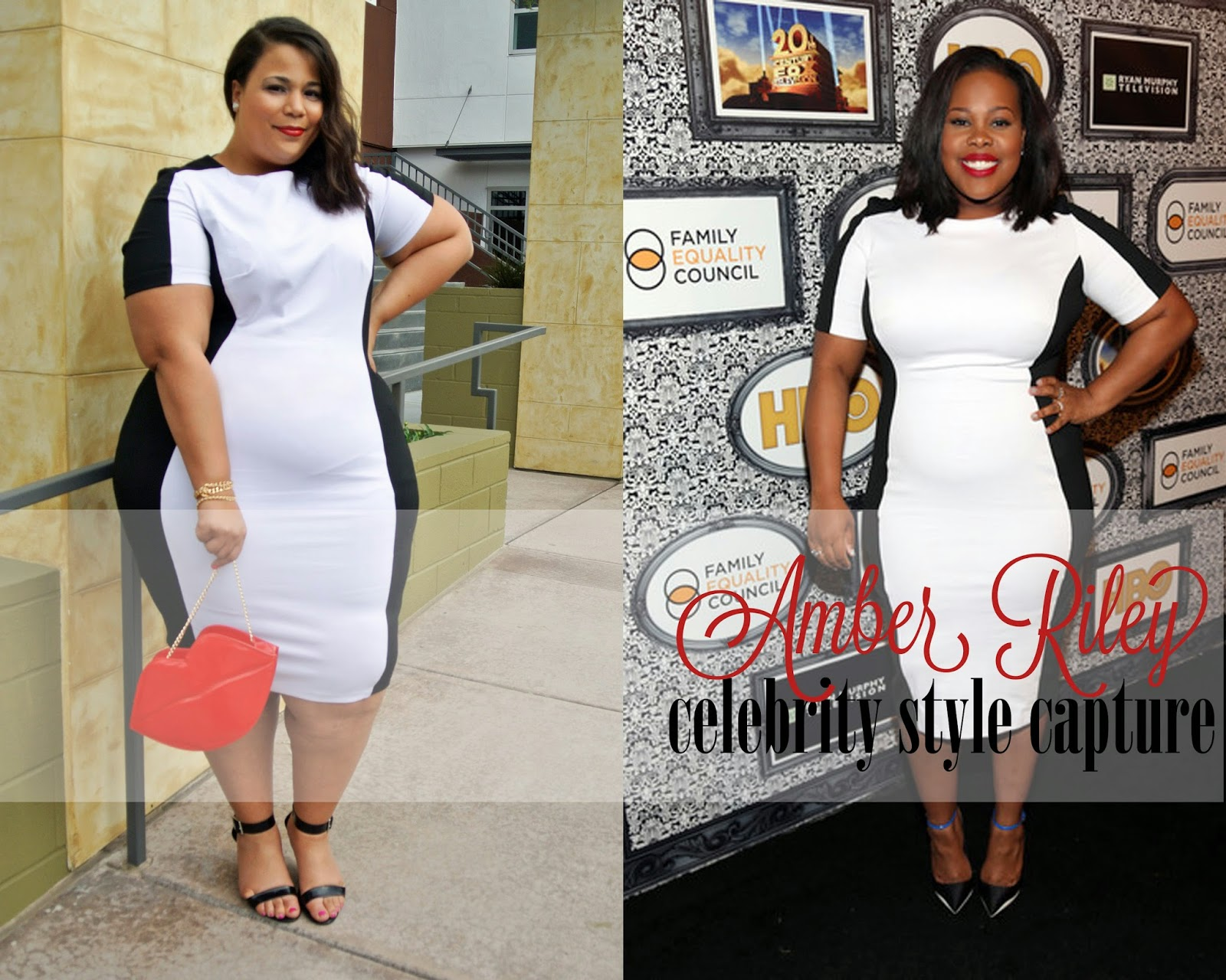 Amber Riley, SimplyBe Illusion Monochrome Dress, Plus Size Black & White Dress