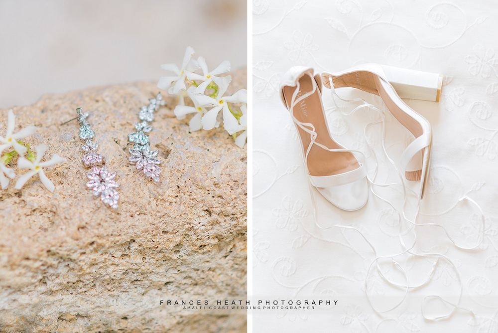 Details of bride's shoes and earrings