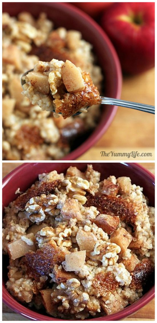 Overnight Slow Cooker Apple Cinnamon Steel-Cut Oatmeal from The Yummy Life featured on SlowCookerFromScratch.com