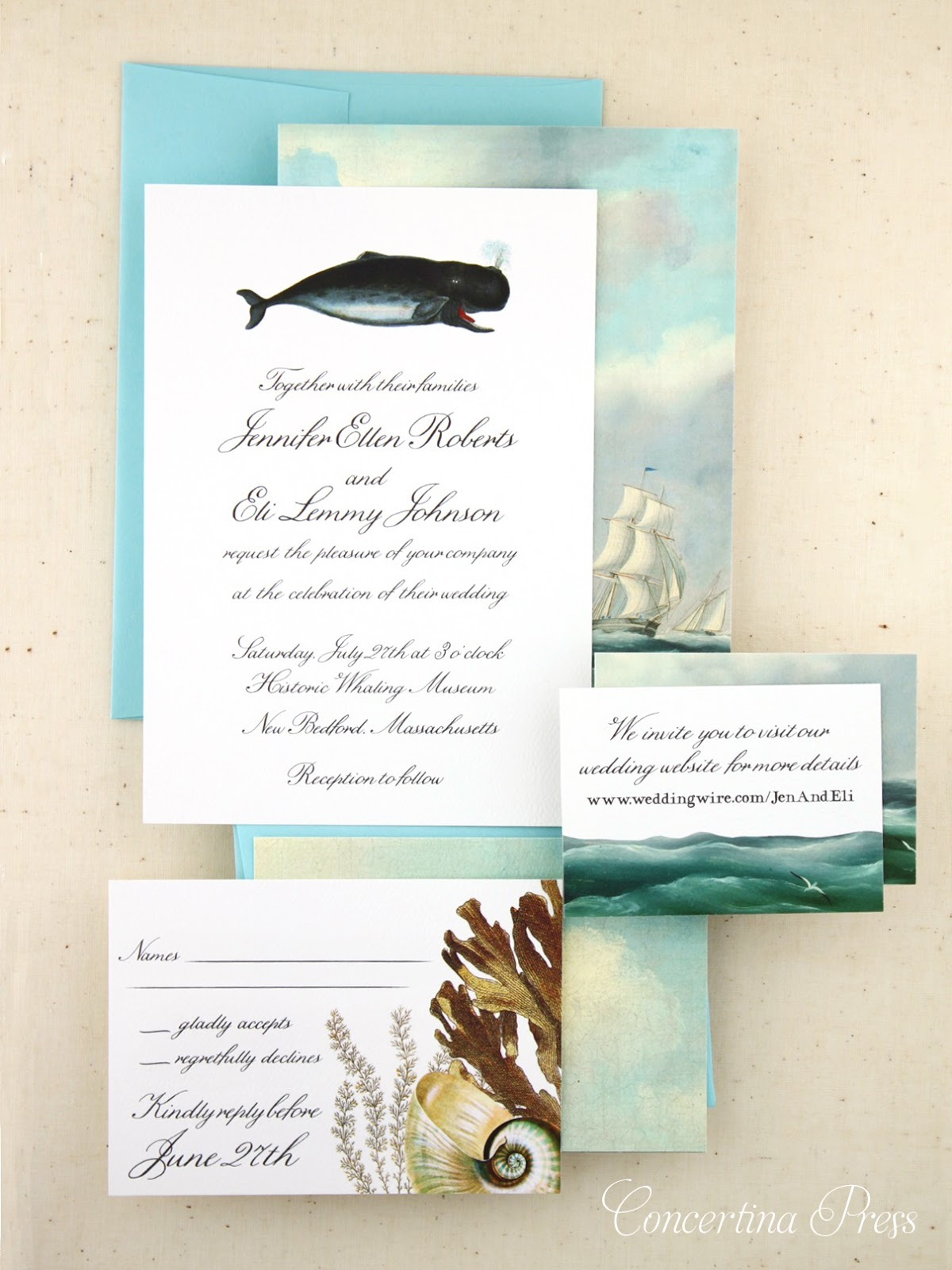 Whale Nautical Wedding Invitations from Concertina Press