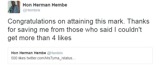 Hon. Herman Hembe gifts girl 500k on Twitter