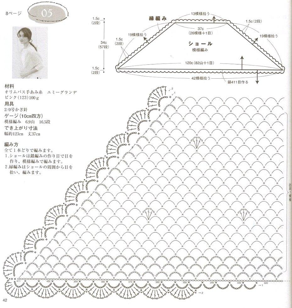 Bonito Patrón De Crochet Libre Pañuelo Friso - Coser Ideas Para ...