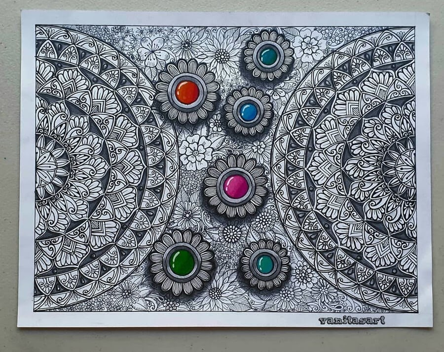11-3D-Stones-and-Flowers-Vanita-Vaz-Mandala-and-Doodle-www-designstack-co