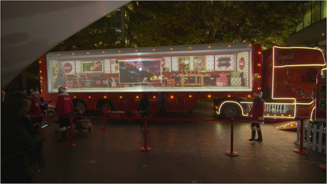 CocaCola Christmas Truck Tour projection on Facebook Live