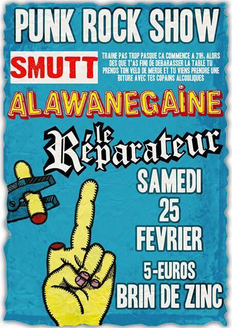 Le Reparateur, Alawanegaine, Smutt, concert punk, chambery, brin de zinc
