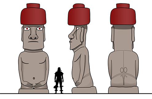 Moai Ko Te Riku Ahu Tahai Easter Island Isla de Pascua Rapa Nui tipos de moais altura fecha historia curiosidades dibujo dibujos drawings bocetos color blanco y negro