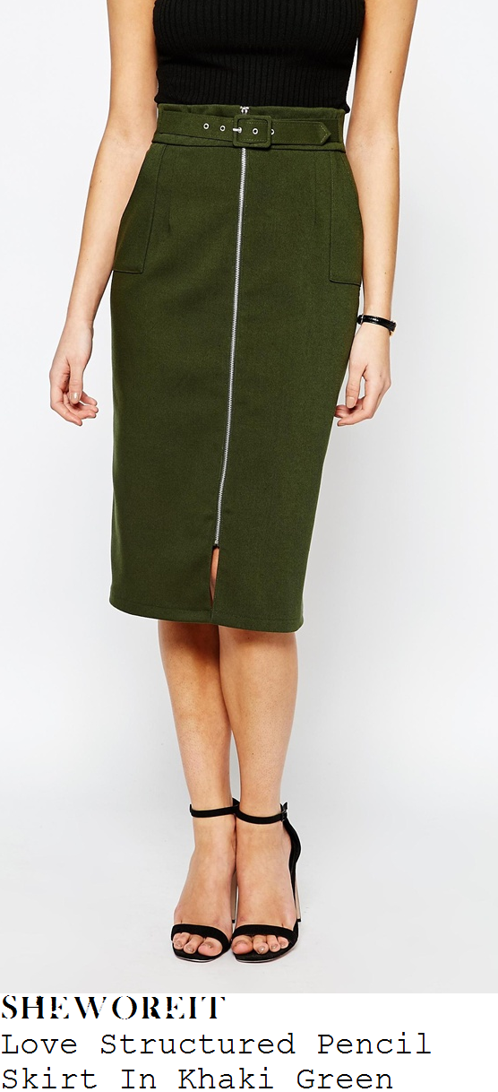 holly-willoughby-love-khaki-green-structured-zip-detail-pencil-skirt