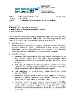 Pelaksanaan Ujian Nasional Perbaikan 2018