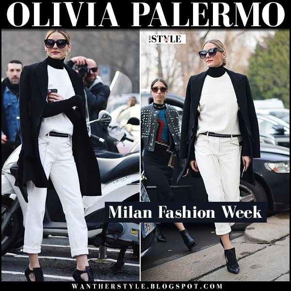Olivia Palermo in black coat, white cropped trousers and black cutout givenchy booties milan fashion week what she wore