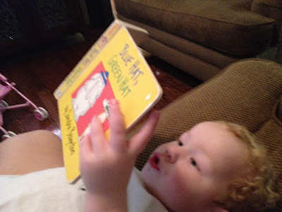 Toddler reading Sandra Boynton board book