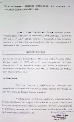 Vereador Alberto Carlos denuncia caos na Saúde de Chapadinha