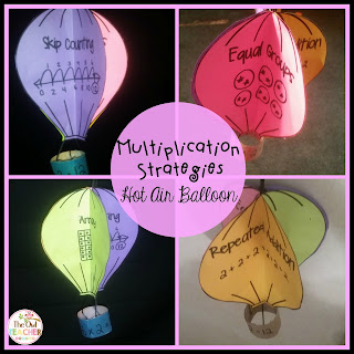 Teach your students about arrays, skip counting, equal groups, and repeated addition with this hot air balloon display that's perfect for when your math class learns about multiplication strategies!
