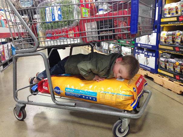 15+ Hilarious Pics That Prove Kids Can Sleep Anywhere - Napping On A Pack Of Dog Food