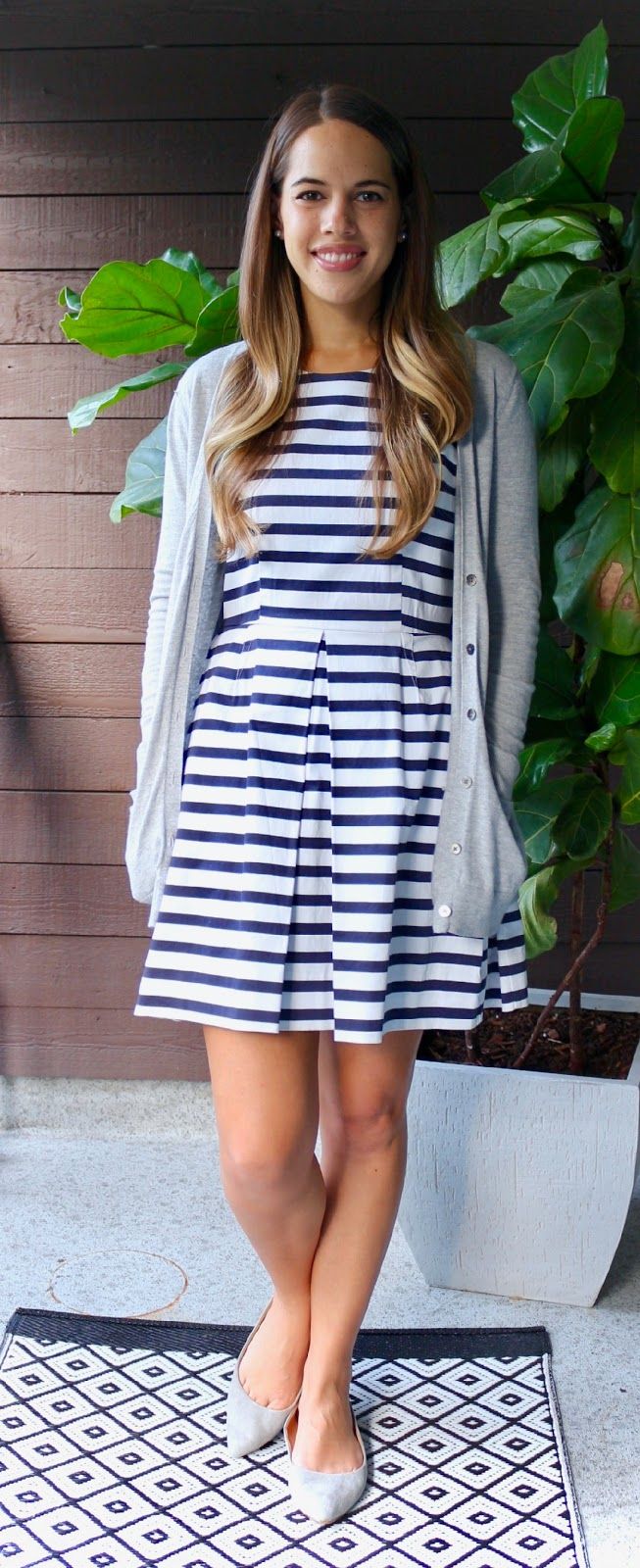 Jules in Flats - Striped Fit and Flare Dress (Business Casual Fall Workwear on a Budget)