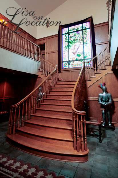 Grand stairway at Castle Avalon destination wedding venue in New Braunfels, Texas. Photography by Lisa On Location