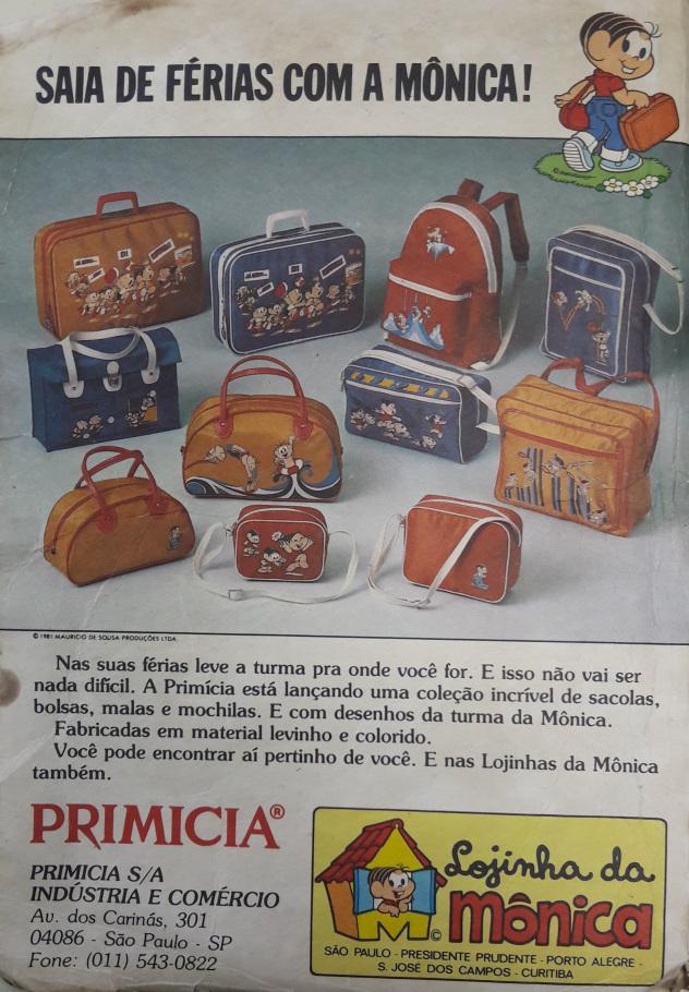 Propaganda das Mochilas e Malas da Turma da Mônica apresentada pela Primicia, nos anos 80