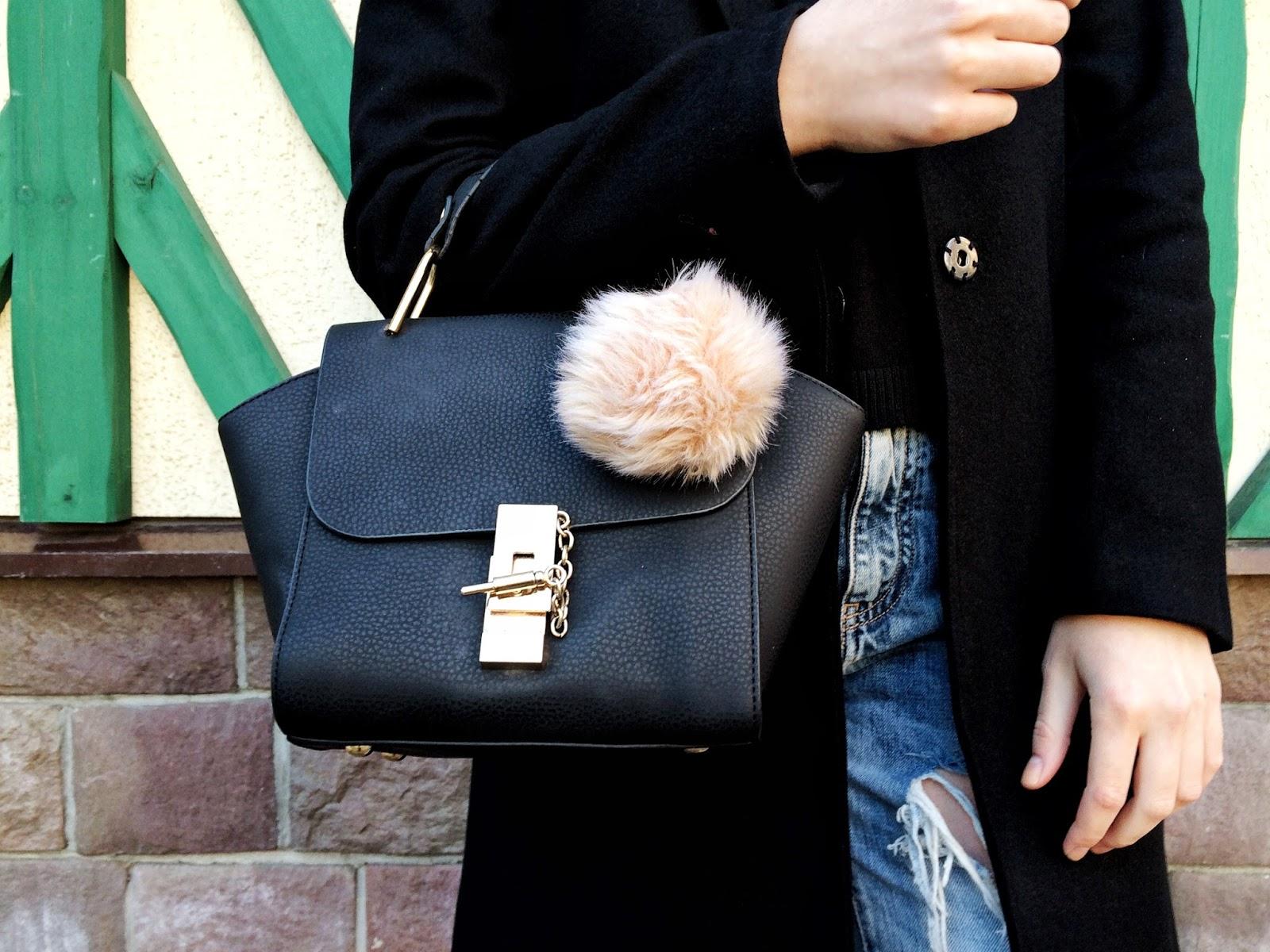 Mini Black Bag | Pom Pom | Street Style