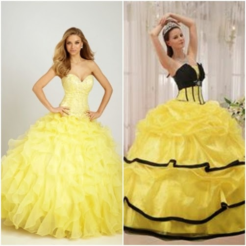 0033387b449 Sources from Left to Right  Allure Quinceanera Dress in Yellow (Add black  accessories)