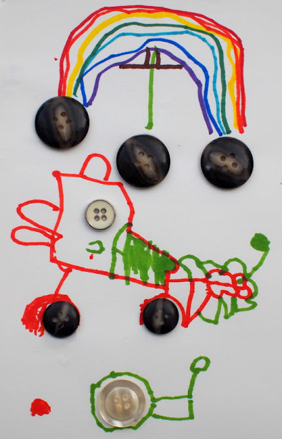 Invitation to create with buttons- make button art collages with the kids- rainbow, car, snail
