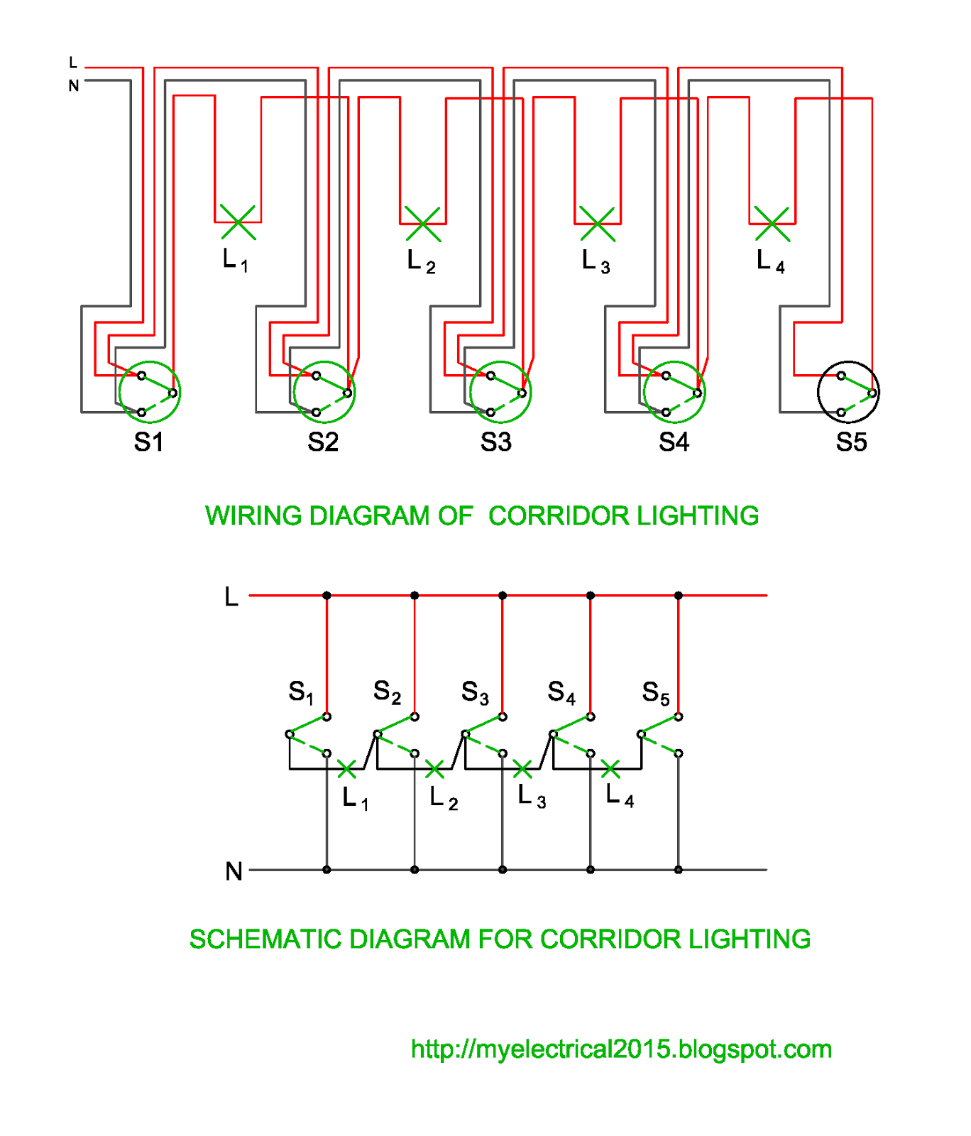 Wiring And Schematic Diagram of Corridor Lighting Electrical