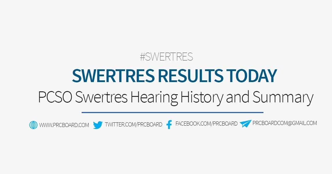 SWERTRES RESULT TODAY: PCSO Lotto Daily Summary, Hearing History