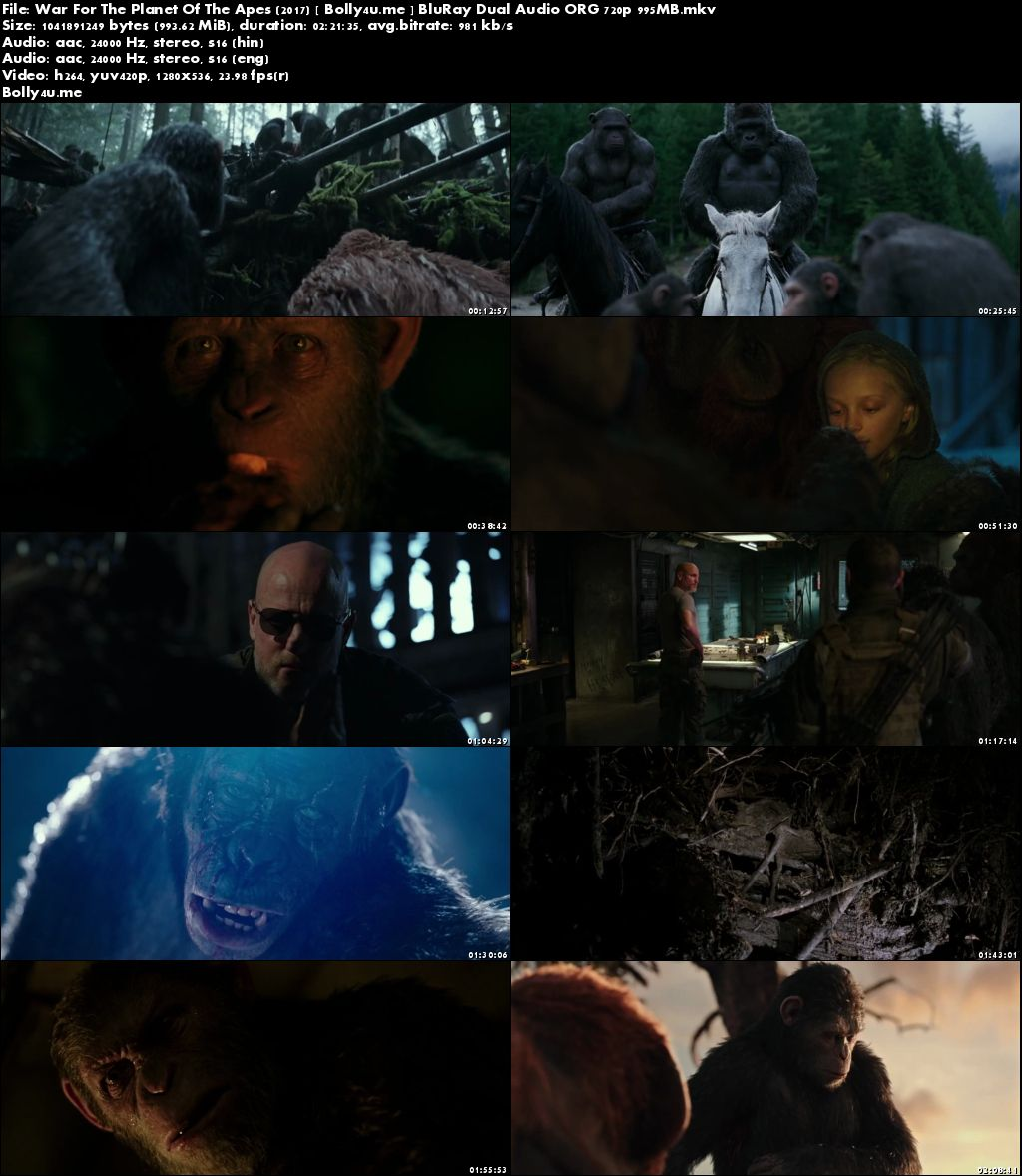 War For The Planet Of The Apes 2017 BluRay 950MB Hindi Dual Audio ORG 720p Download