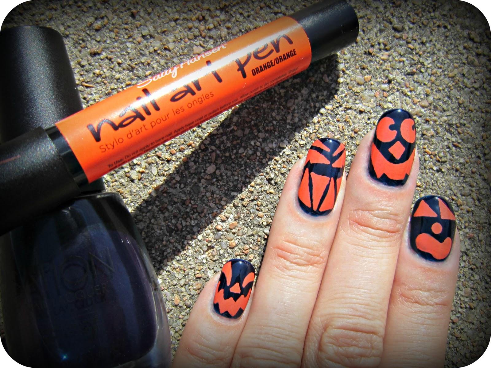 Concrete And Nail Polish Jack O Lantern Nails
