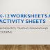 K-12 Worksheets and Activity sheets (Math, Tracing, Drawing and Coloring)