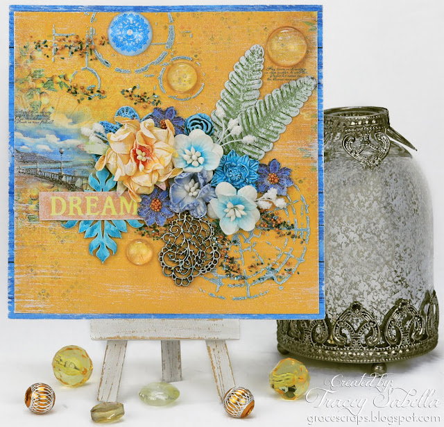Mediterranean Dream Mixed Media Card by Tracey Sabella for ScrapBerry's: Summer