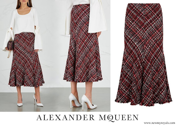 Crown Princess Mary wore ALEXANDER-MCQUEEN High-waisted bouclé tweed midi skirt